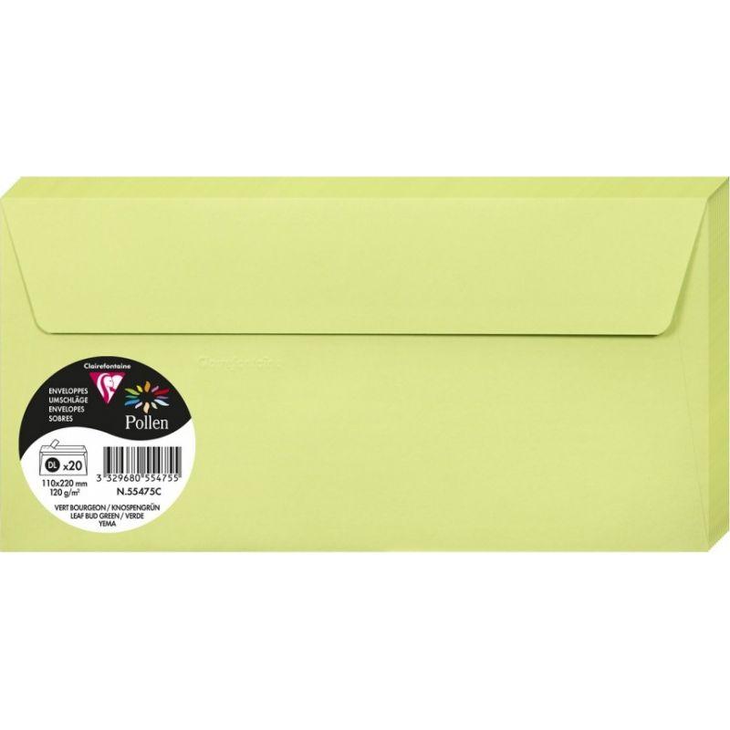 Enveloppes Pollen 110x220 - Vert Bourgeon