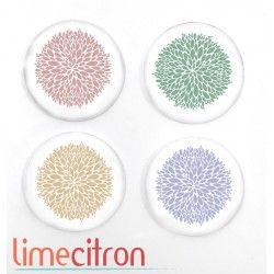 """Badges Lime Citron 1"""" - Boutons de fleurs"""