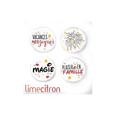 """Badges Lime Citron 1"""" - Vacances Magiques"""