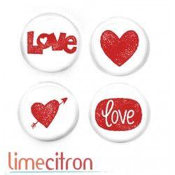 """Badges Lime Citron 1"""" - LOVE"""
