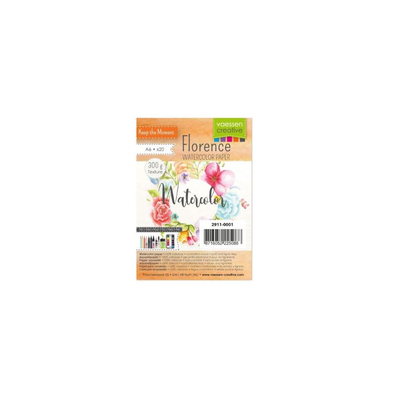 Florence - Papier aquarelle texture 300g - A6 - Vaessen creative