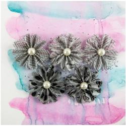 Prima flowers Juno domino - Embellissements Fleur Perle noir et blanc - Prima