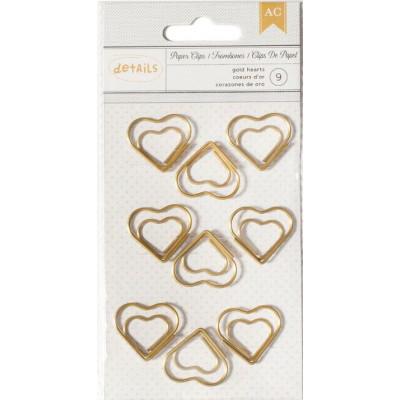 Clip métallique Coeurs d'or - American Crafts