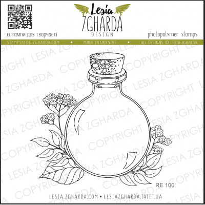 Tampon Lesia Zgharda - Bottle stamp with flower
