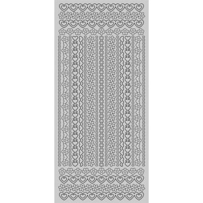 Stickers Peel-off - Bordure Fleurs / Coeurs - Argent