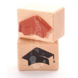 Tampon Bois Cartoscrap - Toque du diplomé