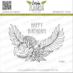 Tampon Lesia Zgharda - Tropical with sentence Happy Birthday!