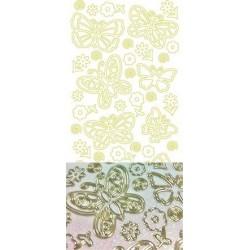 Stickers Peel-off - Papillons - Blanc pailleté