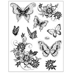 Tampons transparents Viva - Fleurs et papillons