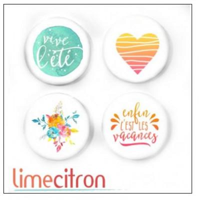 Badges 2.5cm Lime Citron - Enfin les vacances