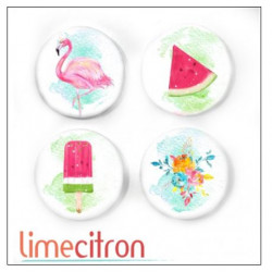 Badges 2.5cm Lime Citron - Flamand