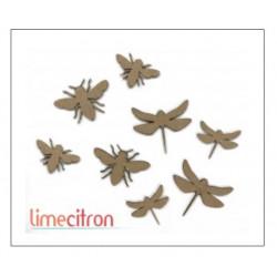 Chipboard Lime Citron - Abeilles et libellules