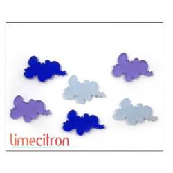 Décoration Acrylique Lime Citron - Nuages bleus