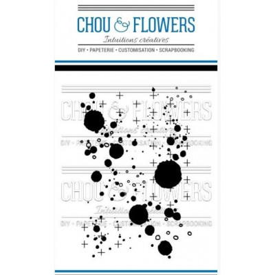 Tampons clear Chou & Flowers - Fond Gribouillis