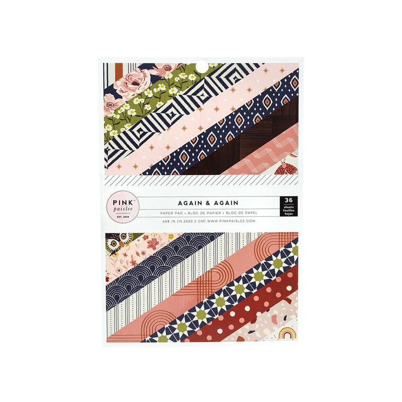 Pack papiers 15x20cm - Pink paislee - Again & again