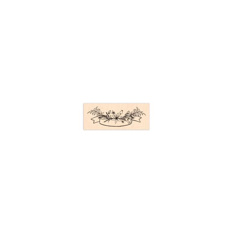Tampon bois Les Ateliers de Karine - Bannière florale