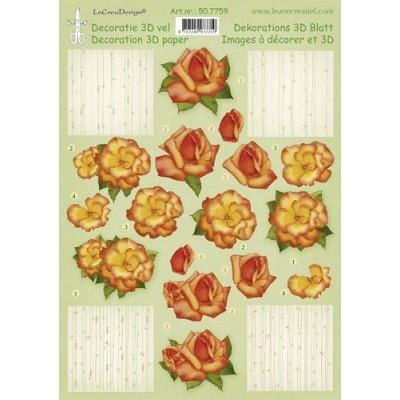 Image Carterie 3D - Roses Tons orangés