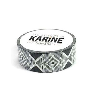 Masking Tape Les Ateliers de Karine - Géométrique noir blanc