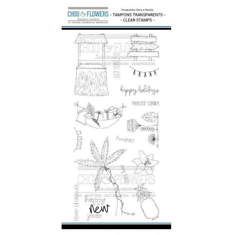 Tampons Clear - Chou & Flowers - Tiki