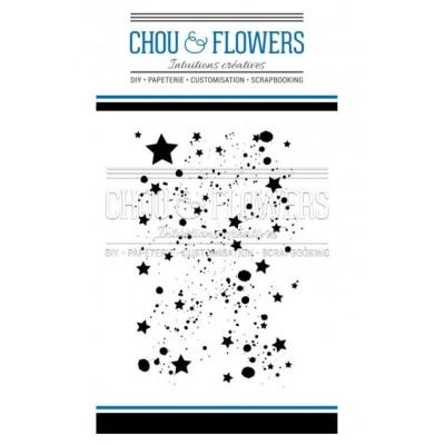 Tampons Clear - Chou & Flowers - Fond d'étoiles