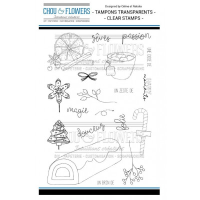 Tampons Clear - Chou & Flowers - La bûche