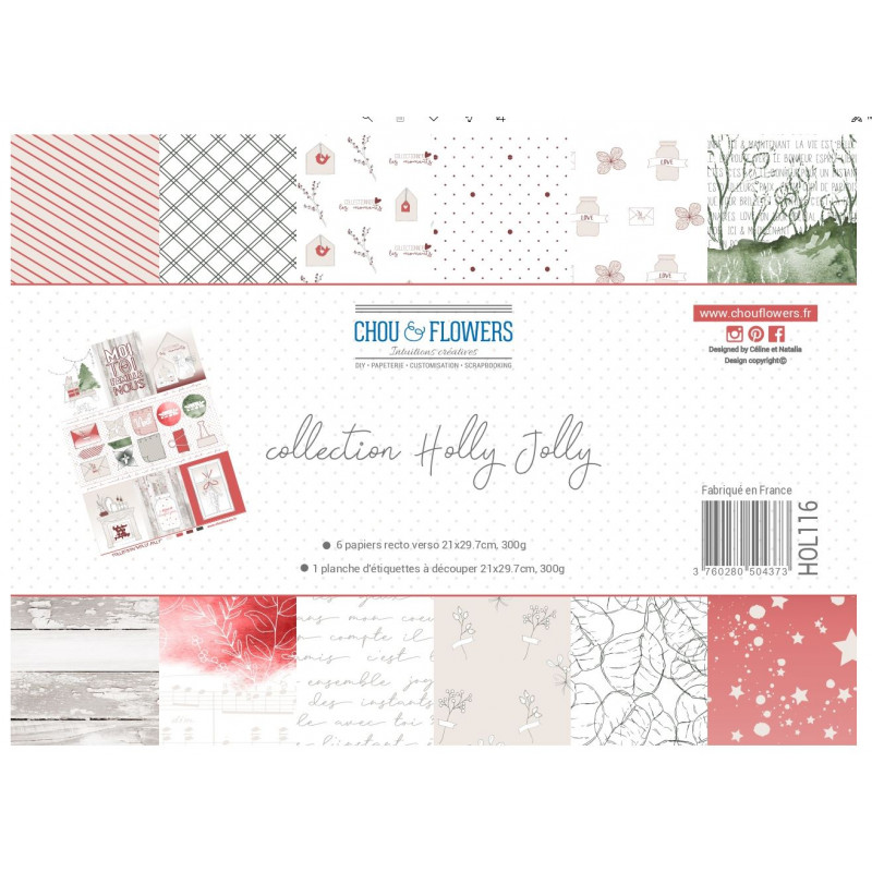 Papier A4 - Chou & Flowers - Collection Holly Jolly