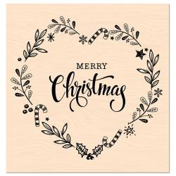 Tampon bois Les Ateliers de Karine - Merry Christmas