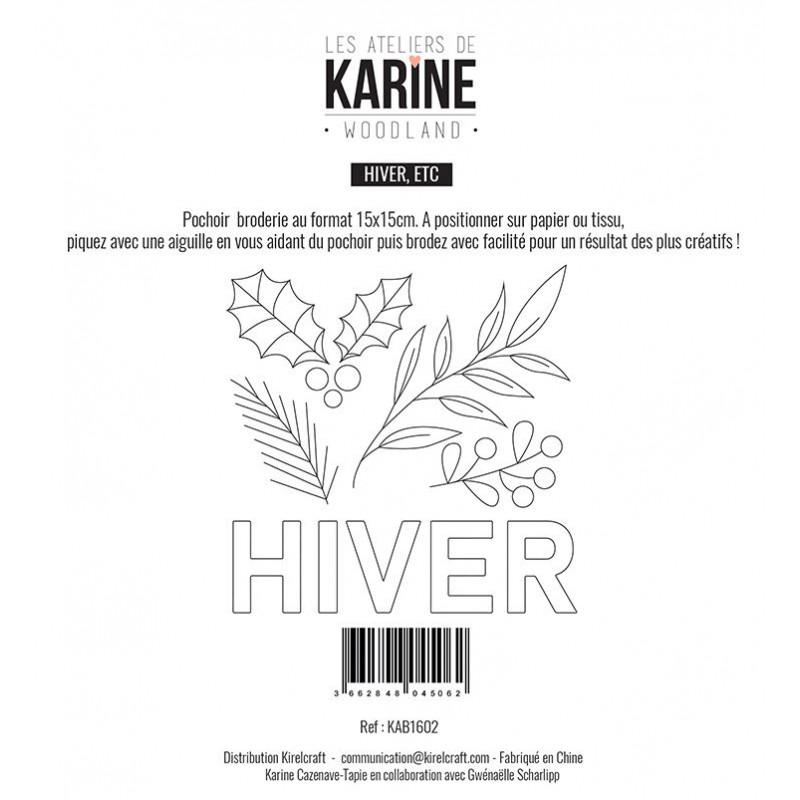 Pochoir Les Ateliers de Karine - Woodland - Broderie Hiver