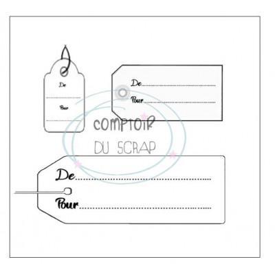 Comptoir Scrap - Tampon - Set Trio Etiquettes cadeaux
