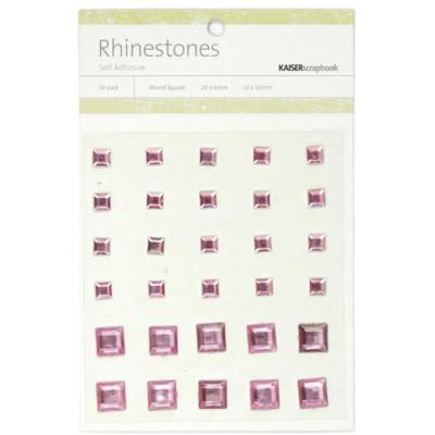 Perles relief autocollantes - Rhinestones - Rose