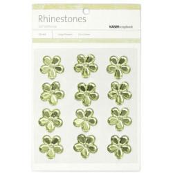 Fleurs relief autocollantes - Rhinestones - Vert