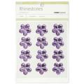 Fleurs relief autocollantes - Rhinestones - Violet