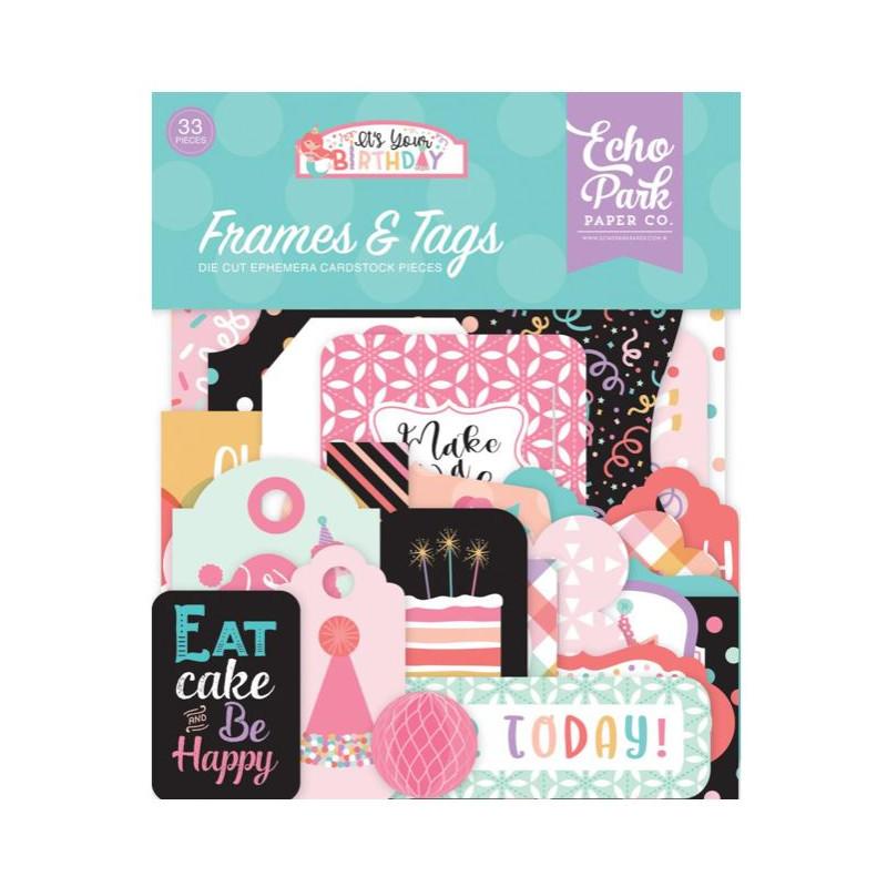 Die Cuts - Echo Park - Birthday - Girl Frames & Tags