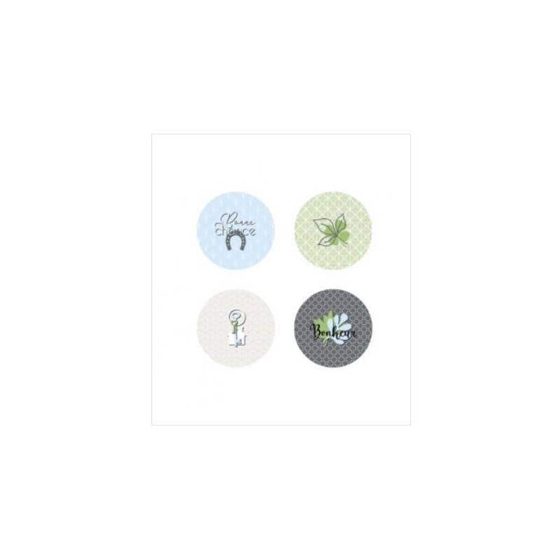 Lot de 4 badges 25mm - Marie LN Geffray - Porte Bonheur