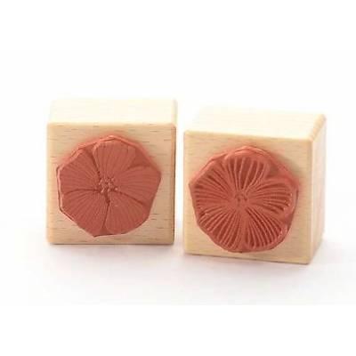 Tampon Bois - Heindesign - Double face - fleur de mauve