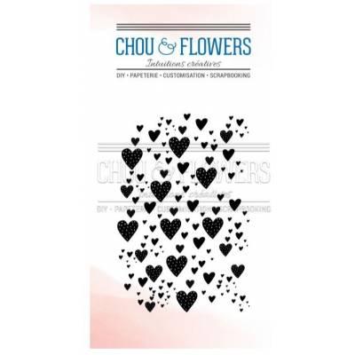 Tampons Clear - Chou & Flowers - Petit côté Famille - Fond coeur