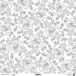 ModaScrap - Paper 30.5 cm x 30.5 cm - Fleurs délicates en N&B