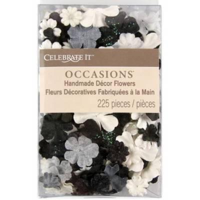 Fleurs Prima - Mix Blanc, Noir et Gris (lot de 250)