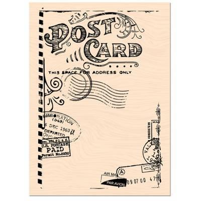Tampon bois Les Ateliers de Karine - Carnet de route - Post Card