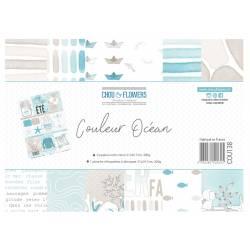 Papier A4 - Chou & Flowers - Couleur Océan