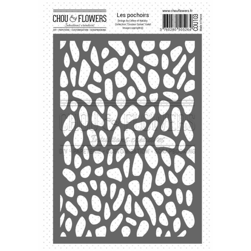 Pochoir - Chou & Flowers - Couleur Océan - Galet