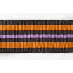 Ruban grosgrain large rayé noir-orange-violet