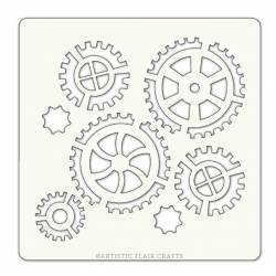 Pochoir Artistic Flair - 10x10 cm - Cogs and Gears