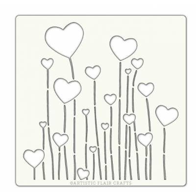 Pochoir Artistic Flair - 15x15 cm - Floating Hearts