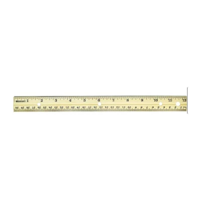 Règle bois 30cm avec insert métallique graduée en pouce et cm