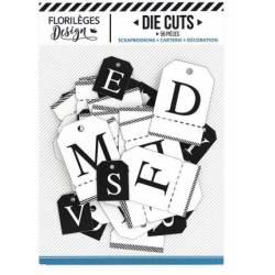 Etiquettes die-cuts - Alphabet Noir et Blanc