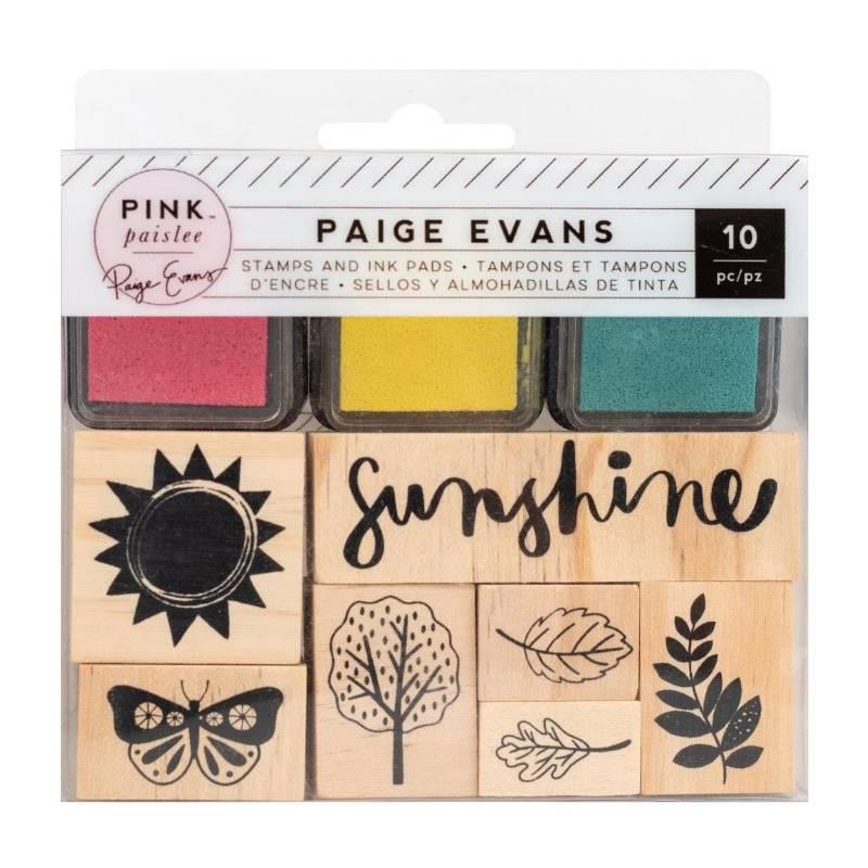 Set de tampons bois et d'encres - Pink Paislee - Sunshine