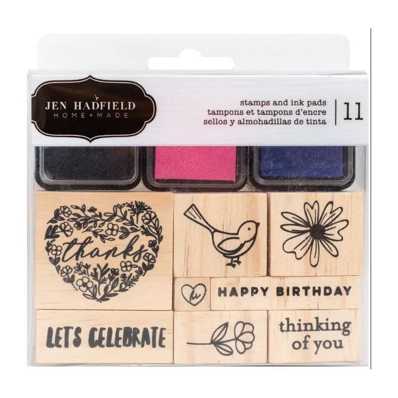 Set de tampons bois et d'encres - Jen Hadfield - Let's celebrate