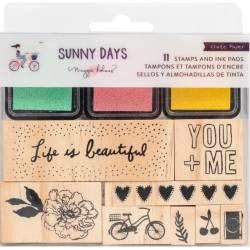 Set de tampons bois et d'encres - Sunny Days - Life is beautiful