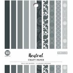 Pack de 100 cardstocks 15.2 x 15.20 cm - Texture lisse - Neutral
